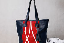 Blue / red leather tote bag. Nautical leather tote.