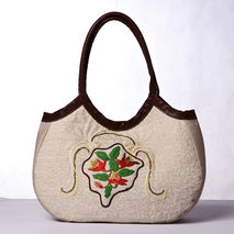 Linen leather shoulder bag. Hand embroidery quilted purse.