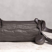 Cylinder leather bag. Gray leather purse.