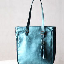 Teal leather tote. Shiny blue leather bag.