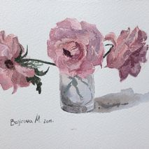 Watercolor roses in glass