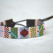 Hand Loomed Beaded Leather Bracelet