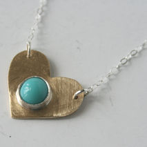 Light Blue and Brass Heart Necklace