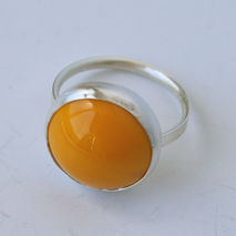 Egg Yolk- Hidden Heart Silver and Vintage Glass Ring