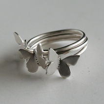Trio of Silver Butterfly Rings