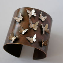 "Ready to Ship- 2"" Wide Brass and Sterling Silver Butterfly Cuff"