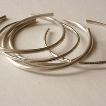 Minimalist Sterling Silver Cuff Bracelets- Set of Five