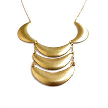 Brass Crescent Statement Necklace