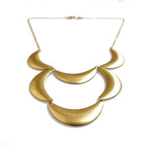 Scalloped Brass Statement Necklace, Bib Necklace