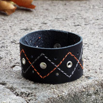 Black leather cuff. women leather wristband.