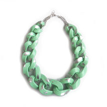 Mint Silver Chain Necklace, Silver Leaf Chain Necklace
