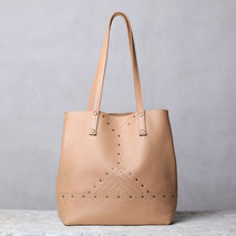 Nude Leather Tote Bag