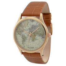 Map Watch (World 2) in rose gold case