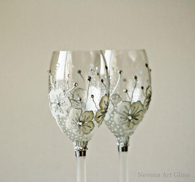 Wine Glasses Wedding Glasses Hand Painted Set Of 2 NevenaArtGlass Pink