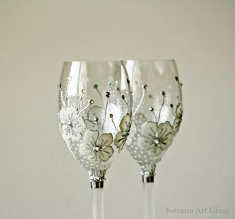 Wine Gles Wedding Hand Painted Set Of 2