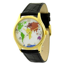 World Map Watch Gold