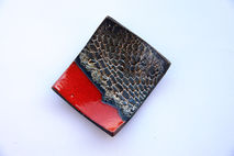 rings holder, Ceramic crochet raku plate, ashtray red and gold