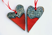 heart love decoration, raku pottery tree ornament, red gold