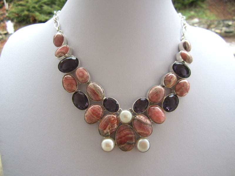 Rhodochrosite And Amethyst Quartz Silver Necklace