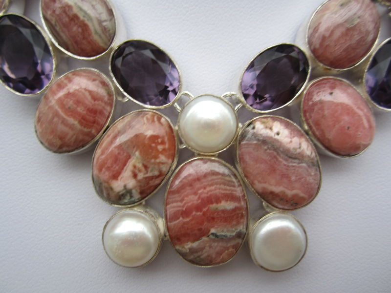 Rhodochrosite And Amethyst Quartz Silver Necklace