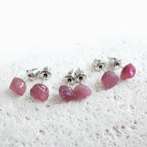 Pink Tourmaline Stud Earrings, Raw Tourmaline
