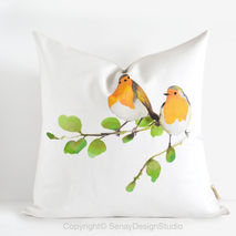 Robin Birds Pillow Cover