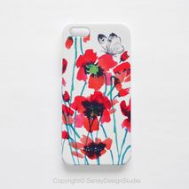 Red Flowers and Butterflies Smartphone Case