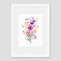 Garden Flowers Watercolour Print