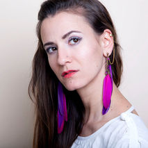 Feather Statement Earrings, Ear Cuff Earrings in pink and purple
