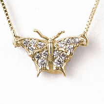 Small Butterfly Necklace Front View