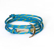 Gold Anchor Bracelet on Blue Rope