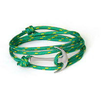 Silver-Plated Anchor Bracelet on Green Rope