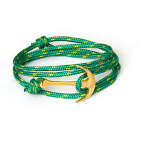 Gold Anchor Bracelet on Green Rope