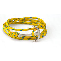 Silver-Plated Anchor Bracelet on Yellow Rope