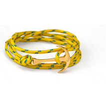 Gold Anchor Bracelet on Yellow Rope