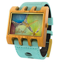 Lenzo Watch (Turquoise / Teak / Multicolor Flowers)