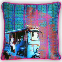 Electric Blue Poli Dupion Cushion Cover