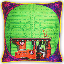 Splash of Green Poli Dupion Cushion Cover
