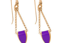 Bronze and Violet Enamel Earrings