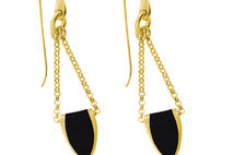 Bronze and Black Enamel Earrings
