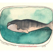 Whale Art Print, Sea Life Art Print, 8x10 Print - Right Whale