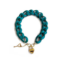 Blue Chain Padlock Necklace
