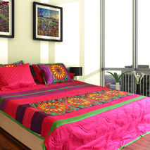 Vibrant Flower King Size Quilted Bedspread