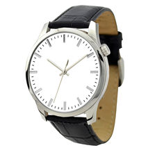 Men's Minimalist Watch White in silver strip