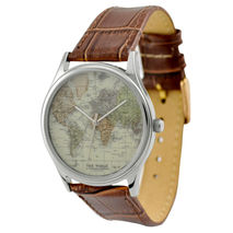 Map Watch (World 2) in Silver Case with Brown Strap - Free shipp