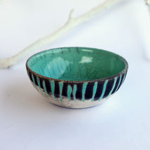 ceramic fruit bowl, raku pottery, mint white stripes, christmas