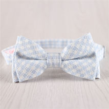 sky light blue plaid adjustable strap mens cotton bowtie+b20