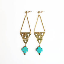 Turquoise Cross Statement Earrings