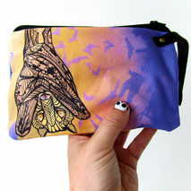 Bat Wristlet Zipper Bag Zentangle Design