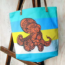 Octopus Tote Bag  Handmade Zentangle Art Bag Shoulder Bag
